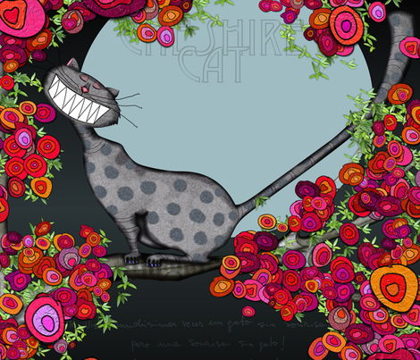 Cheshire Cat fabric by pinky_nika on Spoonflower - custom fabric