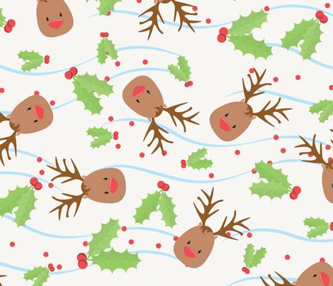 Deer Holly fabric by eveningsongink on Spoonflower - custom fabric