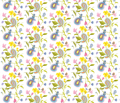 small floral paisley  fabric by stitched_by_shae_cannon on Spoonflower - custom fabric