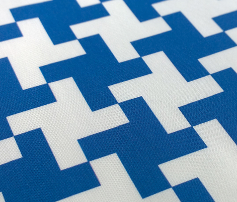 Hound (Preppy Blue) || jumbo houndstooth geometric check midcentury modern 60s 80s cross