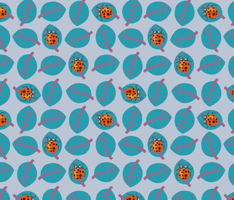 Lady bug - orange and teal fabric by domoshar on Spoonflower - custom fabric