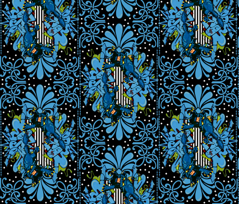 Black Cat Modern Damask fabric by whimzwhirled on Spoonflower - custom fabric