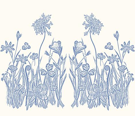 Floral Blue Garden Graphic fabric by mypetalpress on Spoonflower - custom fabric