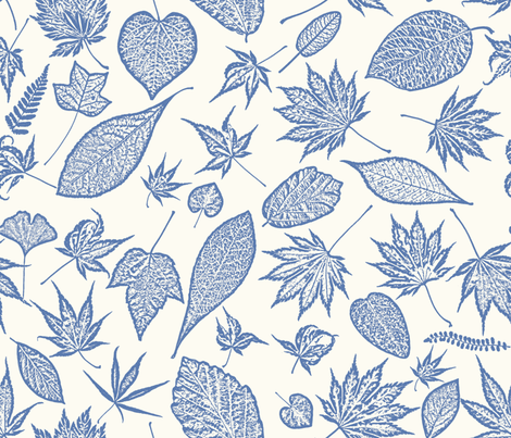 Blue toile leaves fabric by mypetalpress on Spoonflower - custom fabric
