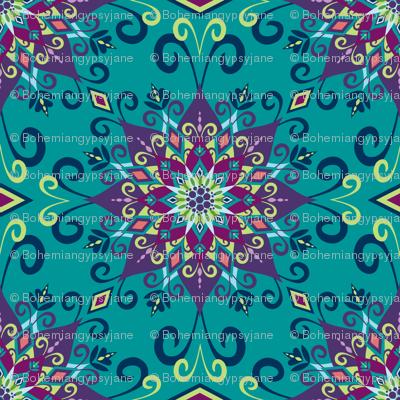 Blooming Mandala-Turquoise-Large Scale