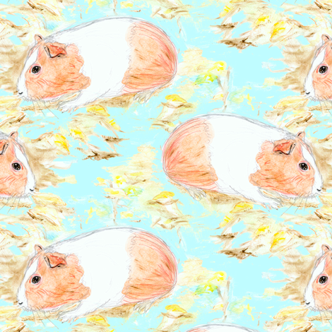 Watercolor Guinea Pig fabric by eclectic_house on Spoonflower - custom fabric