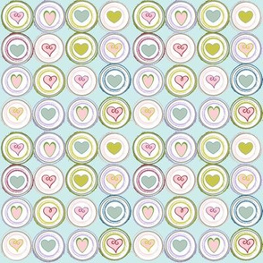 Badge of Hearts mini -Sea Glass