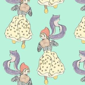 Blue dutch girl illustration print for girls