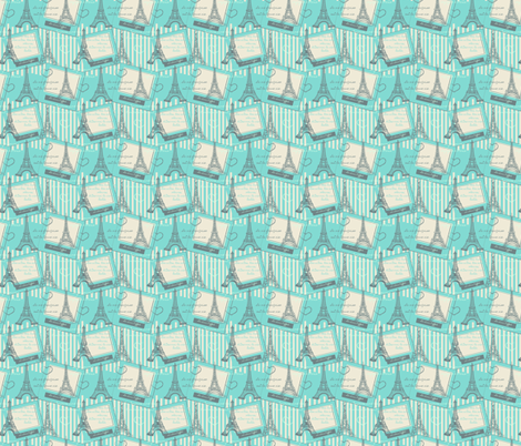 Paris Polaroid Sketch Mint fabric by eppiepeppercorn on Spoonflower - custom fabric