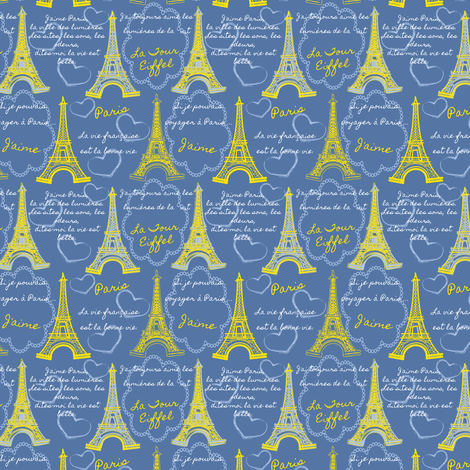 Eiffel Tower Sketches Yellow Blue fabric by eppiepeppercorn on Spoonflower - custom fabric