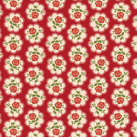 Rose Doily Stamp Red fabric by eppiepeppercorn on Spoonflower - custom fabric