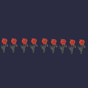 Happy Poppy Border- Navy