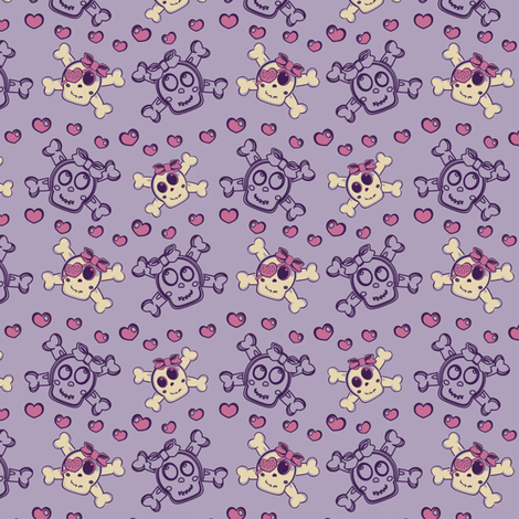 Girly Punk Skulls Purple fabric by eppiepeppercorn on Spoonflower - custom fabric