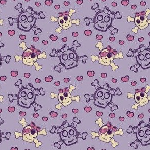 Girly Punk Skulls Purple
