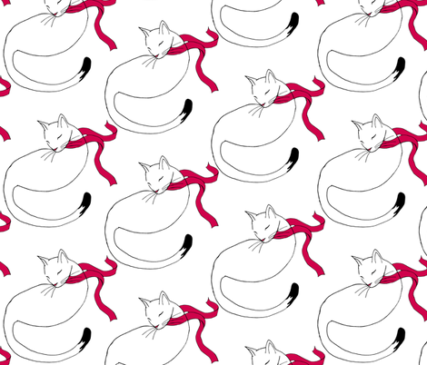 Cat in a Red Scarf fabric by pond_ripple on Spoonflower - custom fabric