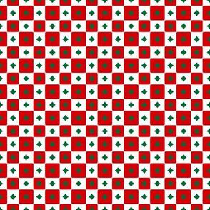 Starry Checks   -Red & White & Green