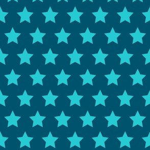Turquoise Stars on Navy - Large