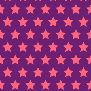 Pink Stars on Purple - Large