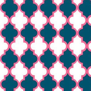 Navy Pink Quatrefoil
