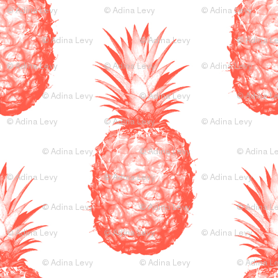 Coral Pineapples - Medium tiling fruit pattern