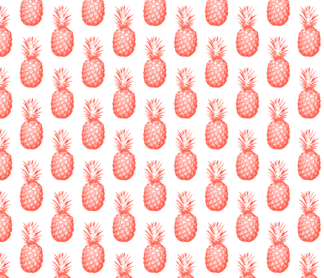 Coral Pineapples - Medium tiling fruit pattern fabric by thecumulusfactory on Spoonflower - custom fabric