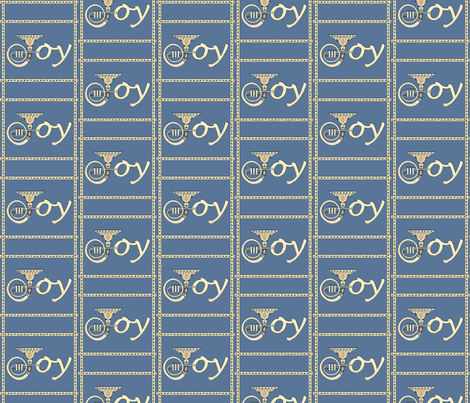 Joy French Horn Blue Grey fabric by denisebeverly on Spoonflower - custom fabric
