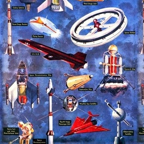 vintage retro rockets ships satellites flying saucer space station research astronauts man universe science fiction sci fi futuristic space galaxy