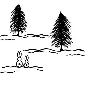 Winter Pine Bunnies