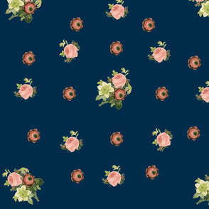 Roses and Anenome-navy
