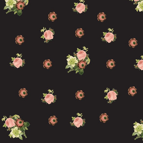 Roses and Anenome-black