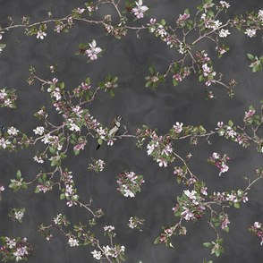 Apple Blossom on grey clouds for Fabric