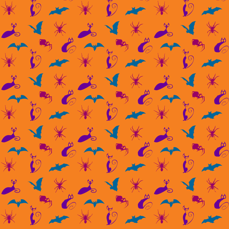 Orange_Bats_Cats_Spiders fabric by lafleur on Spoonflower - custom fabric