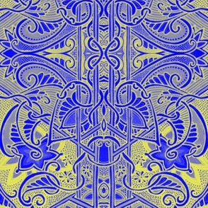 Big Bad Blue and Gold Paisley Blocks