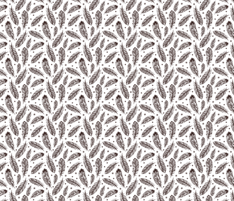 Feathers Black & White fabric by herewesewagain on Spoonflower - custom fabric