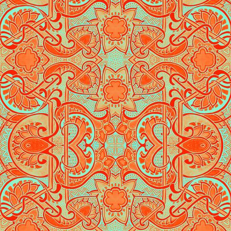 Screaming Orange Sixties Love In fabric by edsel2084 on Spoonflower - custom fabric