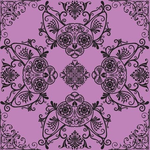 Sphynx Cat Sugar Skull Damask Purple Alternate
