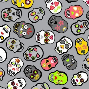 Mexican skulls grey background - Halloween version