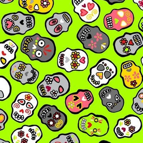 Mexican skulls green background