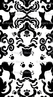 Cat Damask Black and White