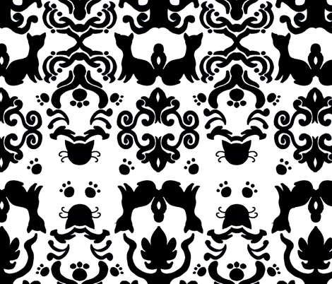 Cat Damask Black and White fabric by pange on Spoonflower - custom fabric