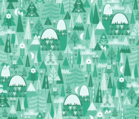 Monochrome Forest fabric by oliveandruby on Spoonflower - custom fabric