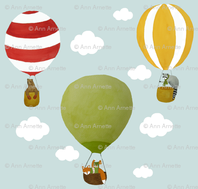 Woodland Animals and Balloons