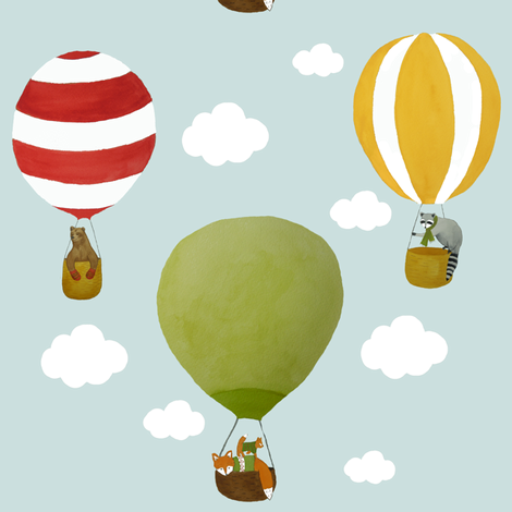 Woodland Animals and Balloons fabric by littlelotusdesigns on Spoonflower - custom fabric