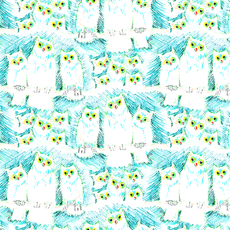 Felt Tip Owls fabric by eclectic_house on Spoonflower - custom fabric
