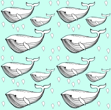 mint whale - elvelyckan fabric by elvelyckan on Spoonflower - custom fabric