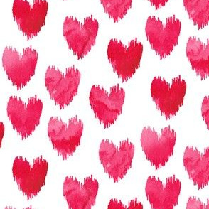 Red & Pink Watercolor Hearts