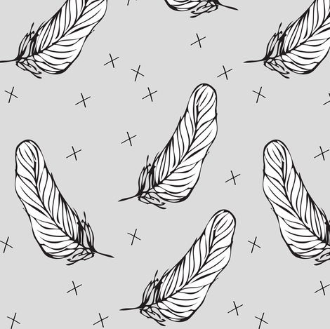 grey white feather - elvelyckan fabric by elvelyckan on Spoonflower - custom fabric