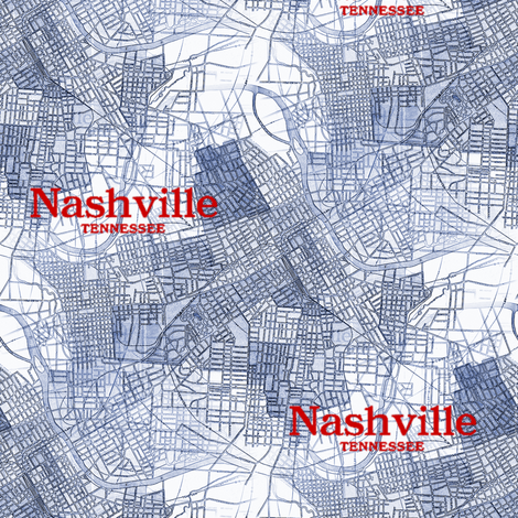 Nashville Map from 1920  fabric by peacoquettedesigns on Spoonflower - custom fabric