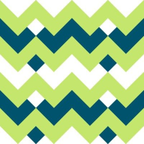 Green & Navy Double Chevron