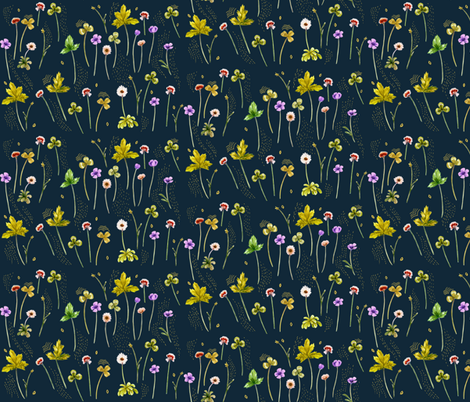 MeadowSweet Jungle Golden Green, Stitches fabric by thistleandfox on Spoonflower - custom fabric